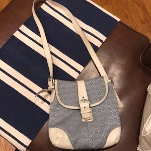 Used •authentic• COACH blue/white crossbody bag👜